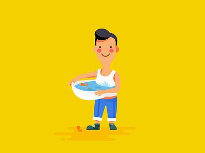 养金鱼 painting vector illustration ui