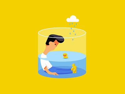 泡水缸里 painting vector illustration ui