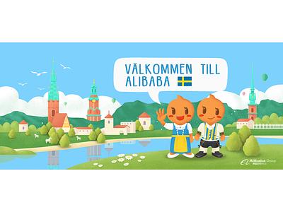 Sweden painting,alibaba,sweden vector illustration ui