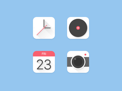 Icons app app icon camera clock play music calendar clean simple material design flat icon