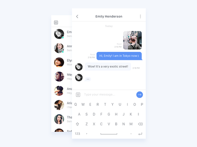 Chat white ux ui mobile app social message send light simple clean chat