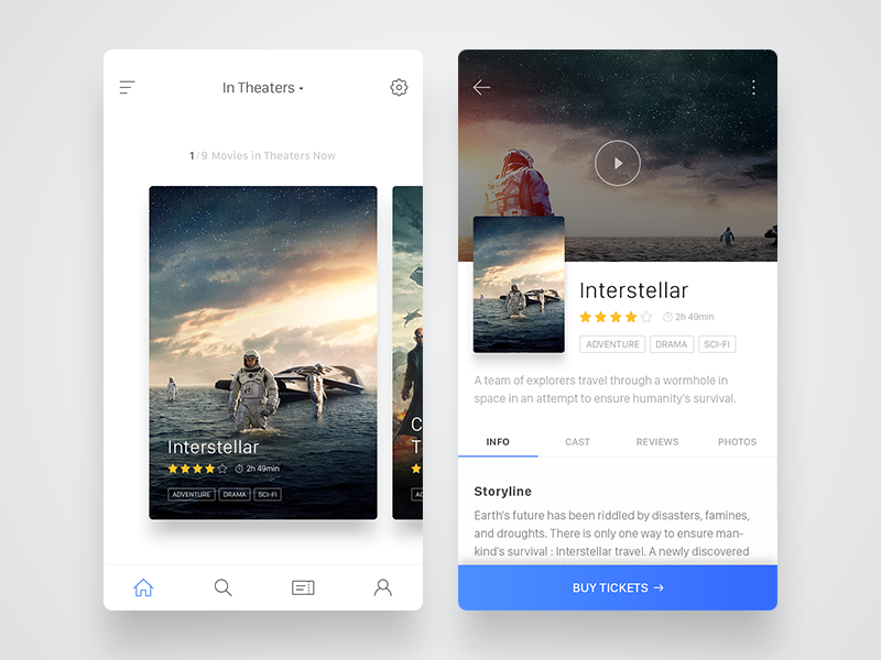 Cinema App UI material design booking iphone uiux mobile details movie ios design clean cinema app