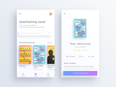 Books App Concept #01 search simple minimal ux ui text read concept clean books book app