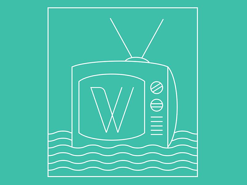 WSEATV 3 type logo brand identity tv television water wave ocean sea w portsmouth nh illustration