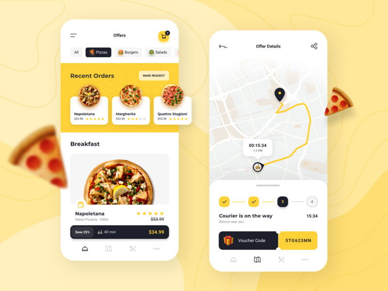 Dasher - Food Delivery App progress bar coupon food pizza voucher food delivery app food delivery map mobile app food app delivery app delivery