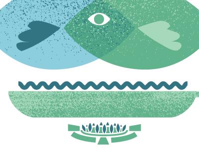 Funky Fish Fry Illustration illustration textures