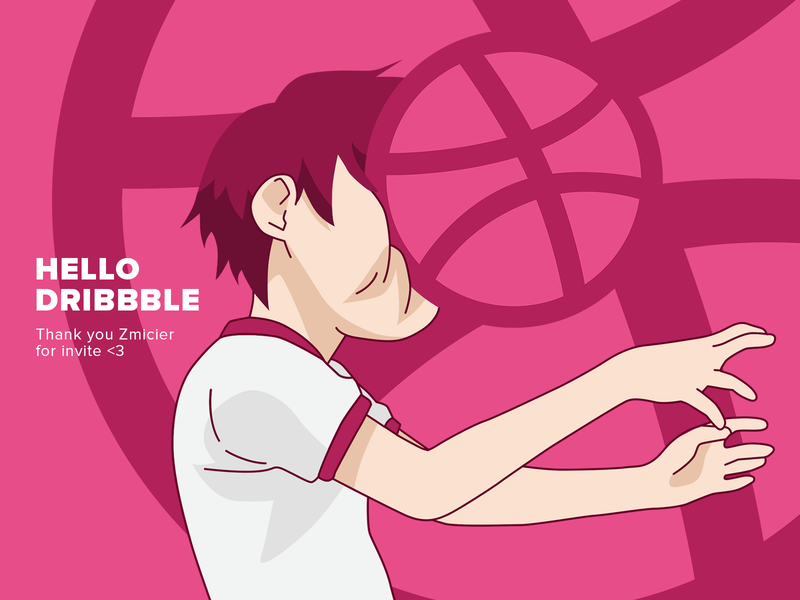 Hello Dribbble manga new ball basketball hello dribble dribbble hello world photoshop flat vector design illustration draw drawing art anime