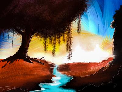 Digital painting sketch colors nature trees river bg