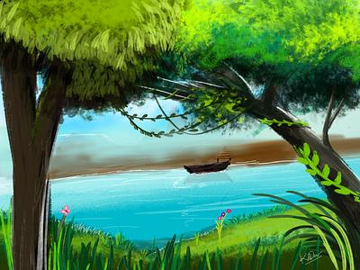 River side colors background sketch app digital painting trees river side nature