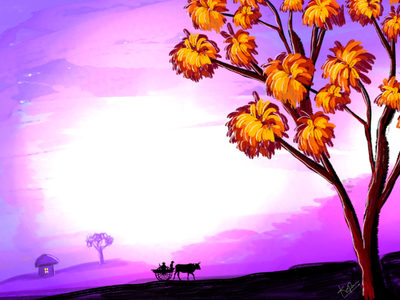 Village morning cart colors shadow morning background village