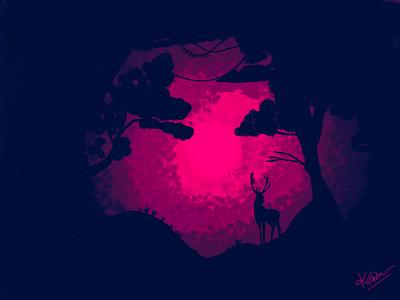 Dark Night deer dark night jungle bg painting