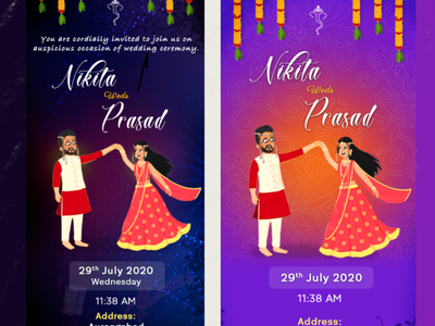 Indian Wedding Invitation colours wedding card doodle invitation card couple
