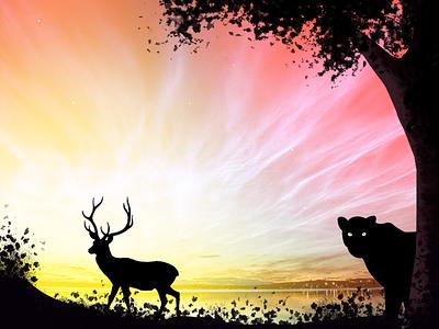 Jungle vector background illustration