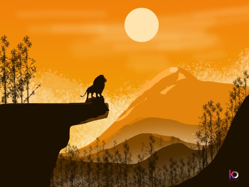 Lion King lion king lion illustration background flat art