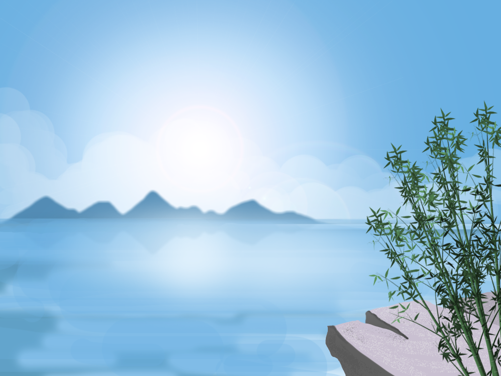 Bright Sky mountains sky bamboo vector colors illustration background