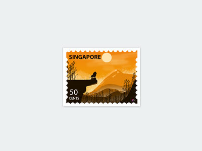 Singapore- Stamp lion illustration flat art