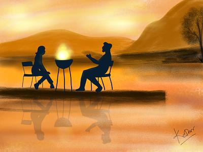 Evening evening painting