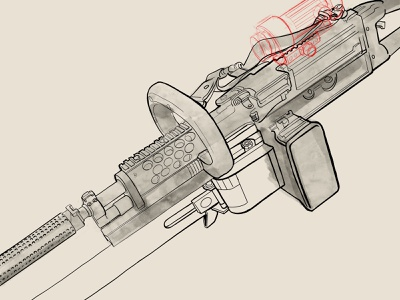 WIP M249 Squad Automatic Weapon concept art procreate 2a sketch art digital illustration