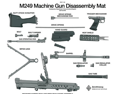 M249 SAW Disassembly Mat art pen tool sketch vector digital adobe illustrator illustration