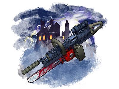 """M249 CHAIN """"SAW"""" army ranger military dark fantasy saw sketch procreate digital illustration"""