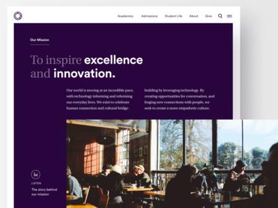 University Mission Statement college higher ed university website web visual design design web design homepage ui unused