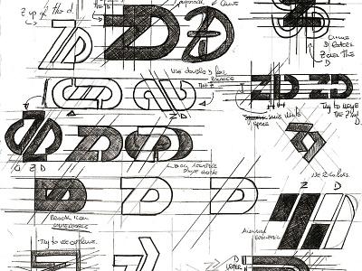 ZD Sketch project sketchbook logo design graphic design andrea busnelli graphic studio zd d z logo skecth