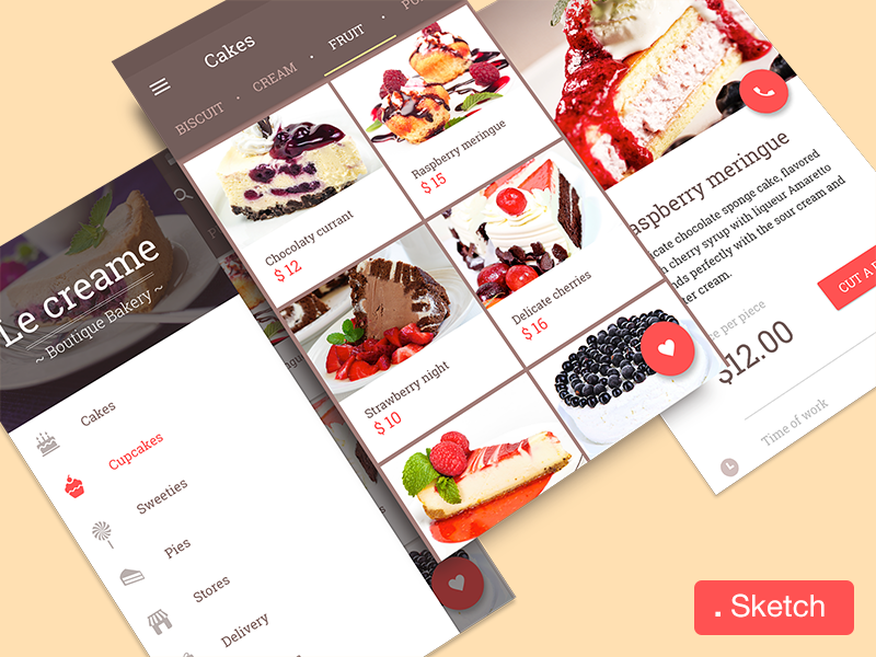 Sweet cakes  app material design android cakes cupcakes chocolate creme sweet ui ux lollipop sketch
