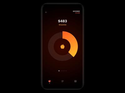 Monobank PFM dashboard product design fintech finance monobank app animation ios statistics pie chart analytics spending payments banking pfm