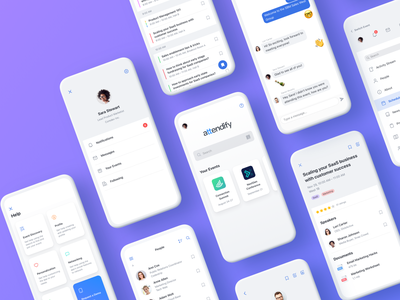 Attendify App ux sidebar chat speakers mobile interface community attendee profile schedule redes sociales event redesign attendify ui app
