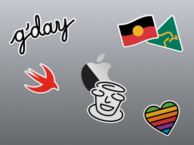 MacBook Stickers aboriginal australia logo melbourne swift apple mac macos illustration