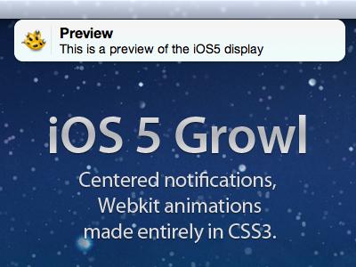 iOS 5 Growl Theme ios 5 growl lion mac html css freebie download