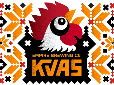 WIP Kvas Label pattern illustration label packaging typography lettering chicken