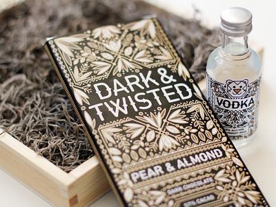 Guilty Pleasures packaging design vodka label chocolate intricate illustration