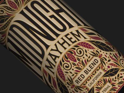 Midnight Mayhem wine illustration intricate typography lettering packaging label design