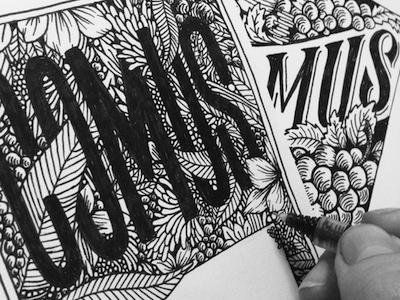 Doodlin'  sketch wine label illustration packaging wine label intricate detail lettering