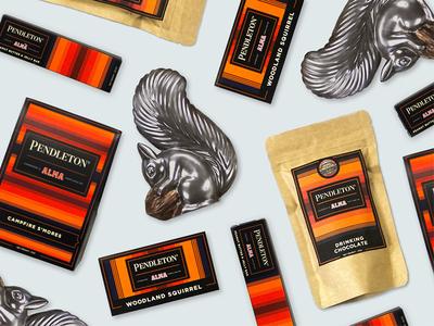 Alma x Pendleton  squirrels packaging design packaging chocolate