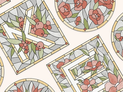 2/36 floral stained glass graphic design design illustration drop cap letter type typography lettering