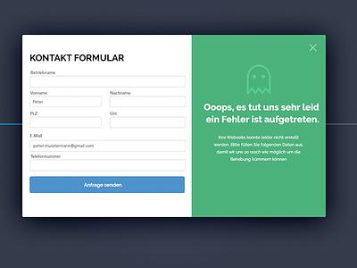 Error Screen - Contact Form contact form error detection bugs error popup