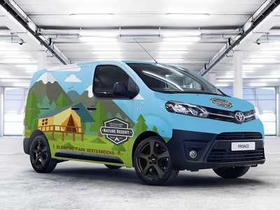 Toyota Proace Wrap glamping resort wrap vinyl vehicle toyota camping design car