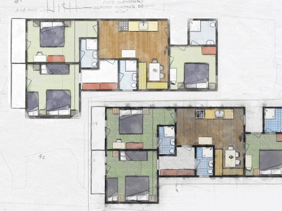 Watercolor Sketch -  Hotel Room Plan hotel website map floorplan map hotel plan roomplan
