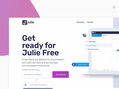 Julie Project landing page design desktop landingpagedesign web landingpage