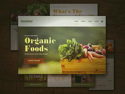 Closemarket Style Guide ux landing page web ui food organic