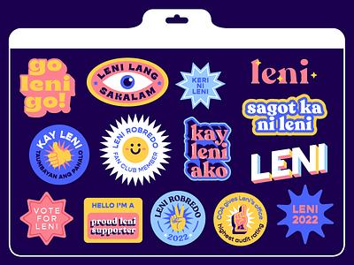 Leni Stickers election happy graphic design design typography illustration philippines leni robredo leni sticker pack stickers sticker
