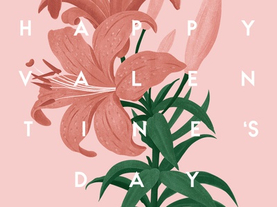Happy Valentine's Day! leaves green pink greeting typography illustration botanical flower day valentines happy