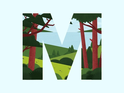 Letter M for 36 Days of Type challenge design green scenery trees landscape illustration typography type days 36 36daysoftype