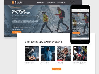 Blacks - New season launch landing page web ux user ui prototype mobile interface interaction gif experience fashion app