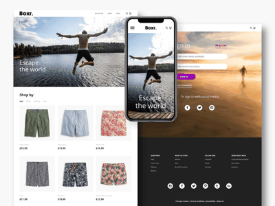 Boxr. e-commerce store experience web ux user ui prototype mobile interface interaction gif fashion experience app