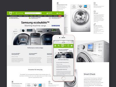 Samsung ecobubble™ washing machine landing page responsive. web ux user ui prototype mobile interface interaction gif experience shop app
