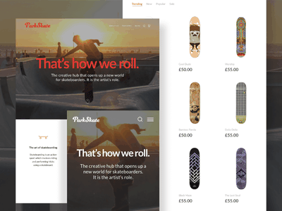ParkSkate e-commerce store experience web ux user ui shop prototype mobile interface interaction gif experience app
