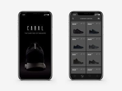 Cabal app - The dark side of sneakers web ux user ui fashion prototype mobile interface interaction experience creative app